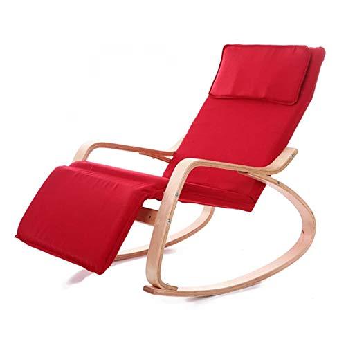 JUNJP Mecedora de Madera, sillón de Dormitorio, Mecedora cómoda y Relajante con reposapiés, Adecuado para jardín de jardín Balcón