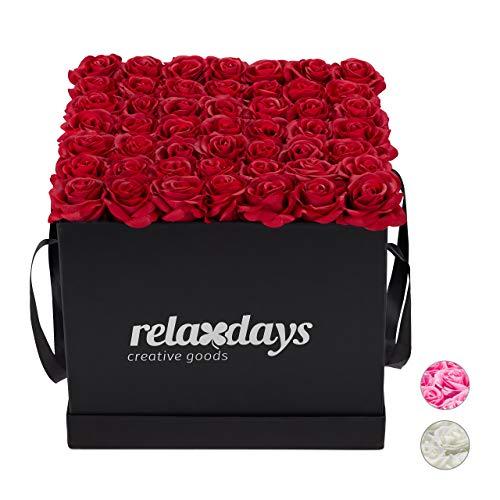Relaxdays Rosenbox eckig, 49 Rosen, stabile Flowerbox schwarz, 10 Jahre haltbar, Geschenkidee, dekorative Blumenbox, rot