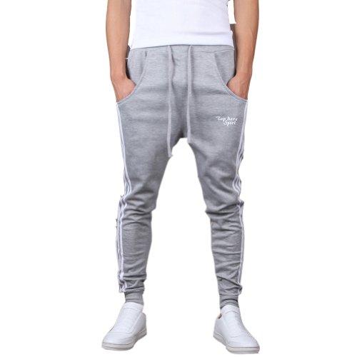 Mooncolour Men's Casual Slim Fit Jogging Harem Pants (Gray  M) Gray Medium