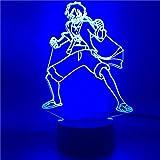 3D Luce Notturna Anime UN Pezzo Scimmia D Rufy 3D Luce per i Bambini Colorato LED Luce di Notte Bambino Camera Da Letto Atmosfera Lampada Da Scrivania ZGTH