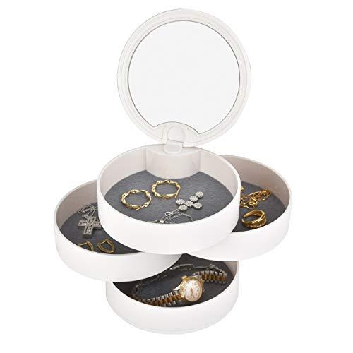Schmuckkästchen Schmuck Organizer Schmuckkästchen mit Spiegel 4 Ebenen 360 Grad Drehbar Schmuckdose für Ringe Ohrringe Halskette Geburtstag Geschenk Mädchen Frauen Damen