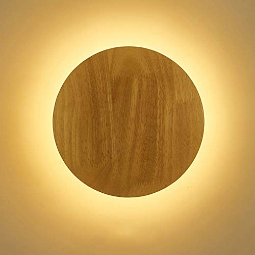 GIOAMH Led Wall Lights Indoor, Wood Pendant Wall Lamp Led Night Lamp Bedroom Aisle Living Room Decor Sconces,A Small