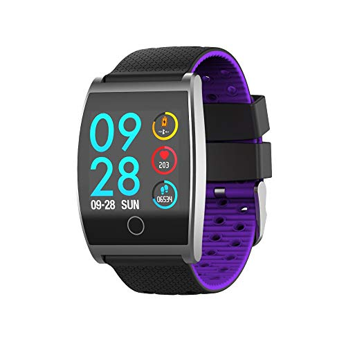 TPulling Mode Inteligente qs05farbbild Pantalla Smart Watch Reloj de Pulsera Sport Burned Entrenamiento Frecuencia Cardíaca podómetro Bluetooth Multifuncional Fitness Tracker Smart Banda, Morado