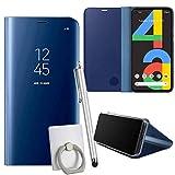 pinlu® Hülle Compatible with Google Pixel 4A Smartphone Spiegel Reflektierende Wirkung Cover Leder Tasche Schutzhülle Flip Grad Klapphülle Handytaschen Blau