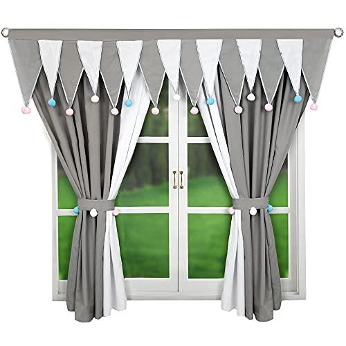 Tenda pronta per la cameretta dei bambini, colore grigio, corta, LB-306