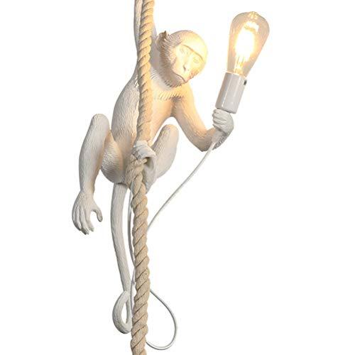 Creativo scimmia lampade a sospensione, corda di canapa resina luce a sospensione, industriale retrò lampada a sospensione, altezza regolabile soggiorno ristorante bar lampadario, E27 × 1,Bianca
