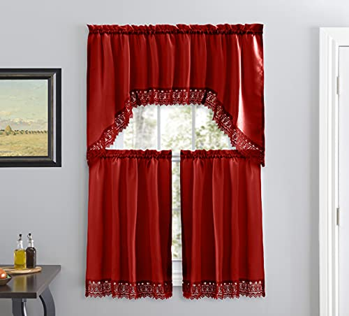 Café Curtains for Kitchen, Bathroom Curtains with Valance, Embroidered lace Border. (Red)