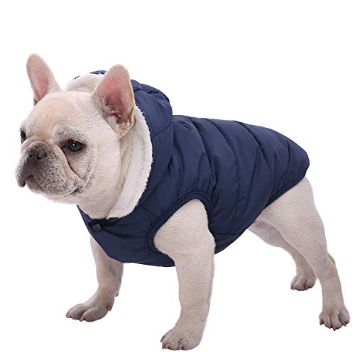 SAWMONG Dog Fleece Hoodie, Windproof Waterproof Dog Coat, Fleece & Cotton Lined Warm Dog Jacket, Cold Weather Pet Apparel Clothes Vest for Small Medium Large Dog Breeds (XS, Blue)