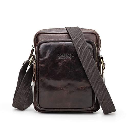 Bolso bandolera de cuero genuino para hombre, de 7.9 pulgadas, multifuncional Crossbody de viaje, color café oscuro