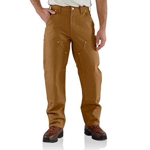 Carhartt Men's Firm Duck Double-Front Work Dungaree Pant B01, Brown, 34W X 34L