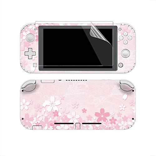 eXtremeRate Lot complet d'autocollants et 2 films protecteurs d'écran pour console Nintendo Switch Lite/NSL Rose Sakura
