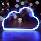 Umitive Insegne al Neon Nube, Luci al Neon Forma di Cloud LED Blu con 4 Ganci, Alimentazione USB o Batteria, Risparmio Energetico, Segno al Neon per Decorazione da Parete, Soggiorno, Festa, Bar