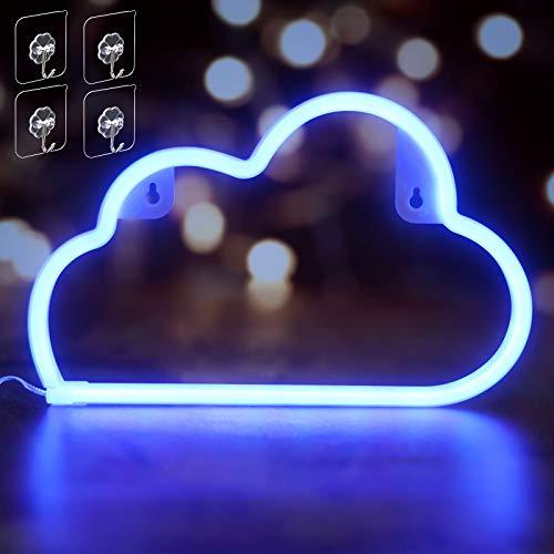 Umitive Letreros de Neon Nube, Luz Neón LED con 4 Ganchos, Batería o USB Accionado, Ahorro de Energía, Señal de Neón Lámparas, Azul Muestra Ligera de Neón para Decoración de Pared, Fiesta y Habitación