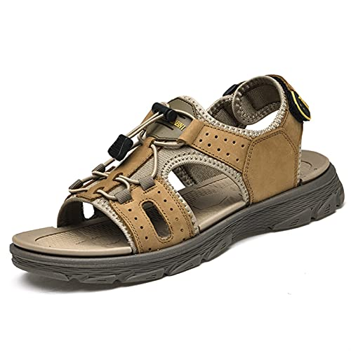 ZH~K Sandalias de Cuero genuinas para Hombres Zapatos de Playa de Agua al Aire Libre al Aire Libre Playa de Agua Perforada Plano Ajustable Dibujo Cadena Hook & Loopstrap 38-44