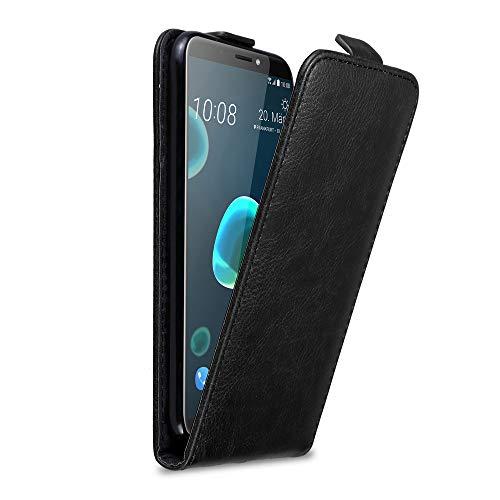 Cadorabo Hülle für HTC Desire 12 Plus in Nacht SCHWARZ - Handyhülle im Flip Design mit Magnetverschluss - Hülle Cover Schutzhülle Etui Tasche Book Klapp Style