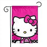 UPNOW Gartenflagge Hello Kitty Pink Einzigartige dekorative Außenhofflaggen für Ihr Zuhause`3