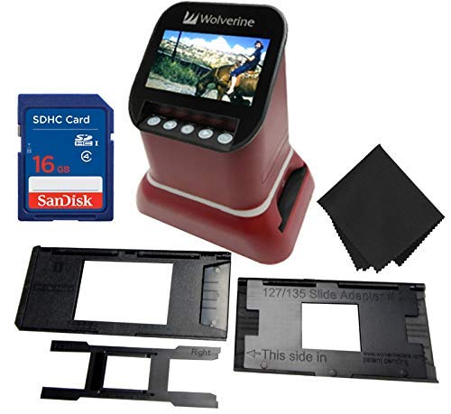 "Wolverine F2D Saturn Digital Film & Slide Scanner - Converts 120 Medium Format, 127 Film, Microfiche, 35mm Negatives & Slides to Digital JPEG - 4.3"" LCD w/HDMI Output, 16GB SD Card & Z-Cloth (Red)"
