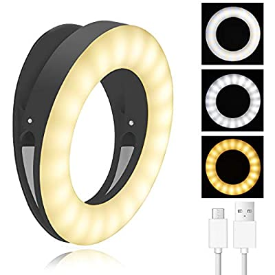 Selfie Ring Light,40 LEDs USB Rechargeable Portable Clip-on Selfie Fill Light,3 Light Modes LED Circle Light for Smart Phone Photography, Camera Video, Girl Makes up from XINGHE
