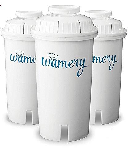 Wamery Filtros para Jarra Filtradora de Agua, 3-Pack Compatible con Jarra Brita - Sistema Ionizador Domestico Certificado por la NSF/ANSI Reduce Cloro y Metales Duros.