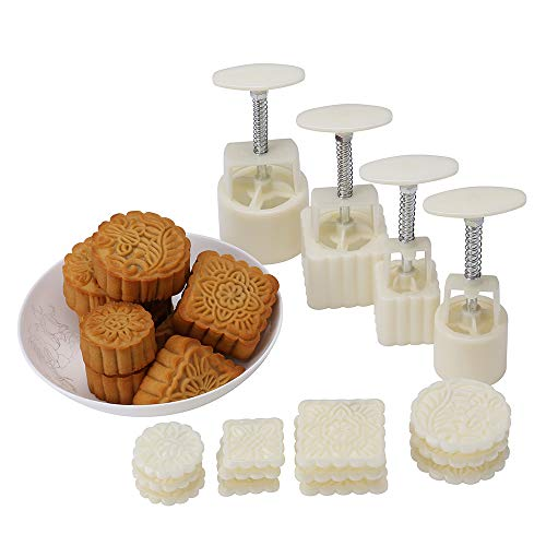 Mid-Autumn Festival Hand-Pressure Moon Cake Mould With 12 Pcs Mode Pattern For 4 Sets