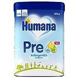 Humana Anfangsmilch PRE, Babynahrung zum Zufüttern und als alleinige Pre-Nahrung, mit DHA (Omega 3 Fettsäure), nur Laktose als Kohlenhydrat, von Geburt an, Pulver, 800 g