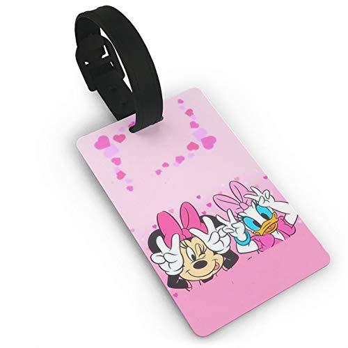 DNBCJJ Etiquetas de equipaje para maletas Minnie y Daisy Duck etiqueta de equipaje, con nombre ID maleta para mujeres, hombres, niños, accesorios de viaje