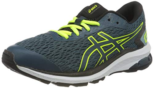 Asics Unisex-Child GT-1000 9 GS Laufschuhe, Mehrfarbig (Magnetic Blue/Safety Yellow), 39 EU