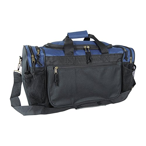 Dalix 20 Inch Sports Duffle Bag with Mesh and Valuables Pockets, Navy Blue
