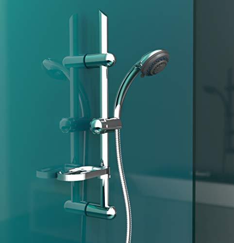EISL Duschset VARIABILE , Duschkopf mit Schlauch und Halterung, 5 Strahlarten, ideal zum Nachrüsten durch Nutzung vorhandener Bohrlöcher, komplettes Montageset Chom DX7003CS