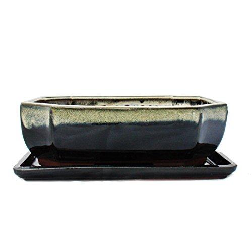 Bonsai-Schale mit Unterteller Gr. 4 - Sonderglasur mit edlem Farbverlauf-Effekt - rechteckig G117 - schwarz-weiss - L 25,5cm - B 19,5cm - H 8,2cm