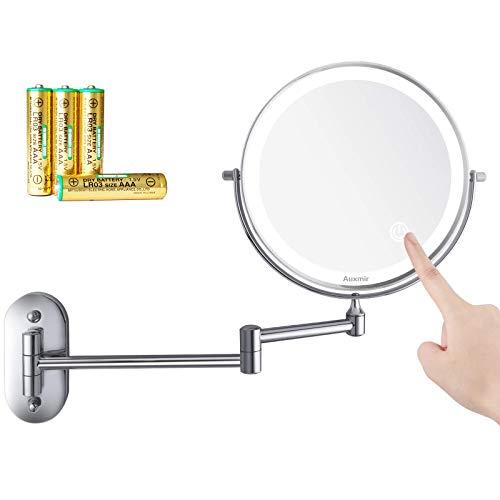 Auxmir Kosmetikspiegel LED Beleuchtet mit 1-/10X Vergrößerung, Dimmbarer Schminkspiegel mit Touchschalter Batterie, Rasierspiegel Doppelseitig 360° Schwenkbar Wandmontage für Badezimmer, Spa und Hotel