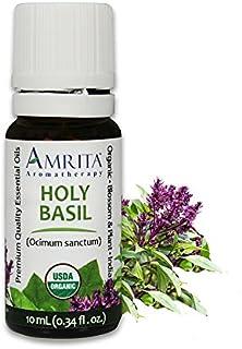 Amrita Aromatherapy Organic Holy Basil Essential Oil, 100% Pure Undiluted Ocimum sanctum, Therapeutic Grade, Premium Quali...