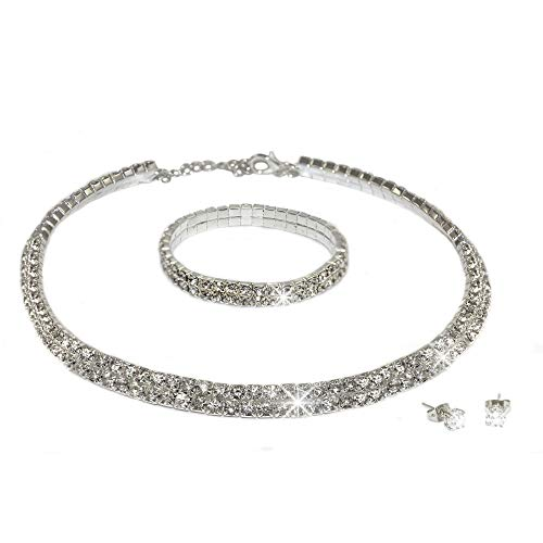 Eira Wen Conjunto de Cristal de Swarovski con Collar, Pulsera y Pendiente...