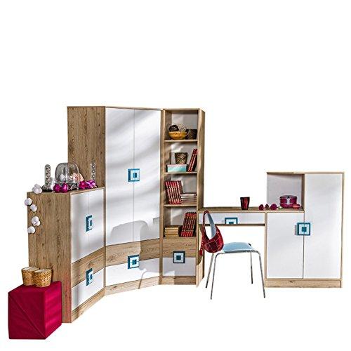 Mirjan24 Jugendzimmer Set Nicola II, 5-TLG. komplett, Griffe Farbauswahl, Eckkleiderschrank, Regal, Kommode, Wandregal, Schreibtisch - Kommode (Eiche Hell/Weiß + Türkis)