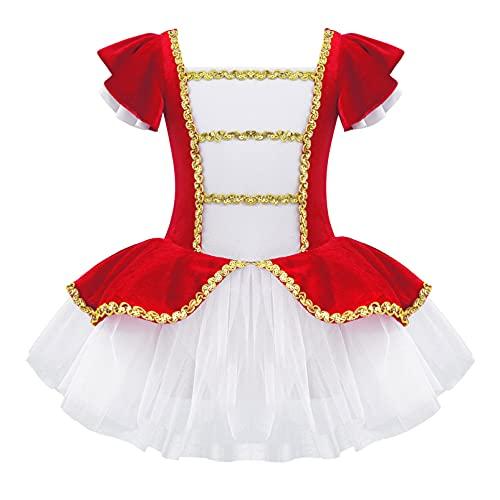 Alvivi Vestido Princesa de Danza Ballet para Fiesta Navidad Vestido Tutú de Patinaje Artistico Disfraz de Domador de Circo Ropa de Baile Niña 3-14 años Rojo 5-6 años