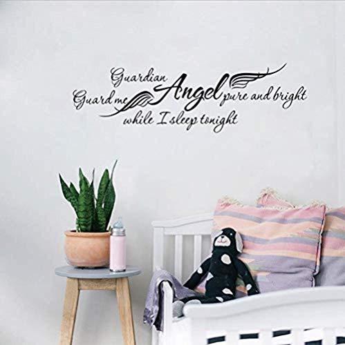 Wandaufkleber Wandtattoo Schutzengel Während Ich Schlafe Abnehmbare Kunst Pvc Aufkleber Kindergarten Kinder Schlafzimmer Wanddekor 144X44Cm