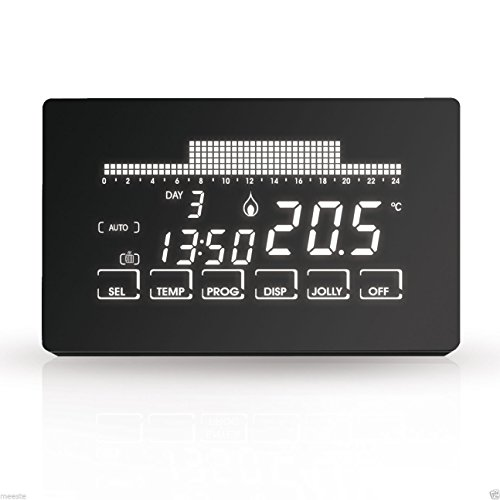 Fantini Cosmi CH191 CH191-Cronotermostato Touchscreen retroilluminato, Nero, Batterie