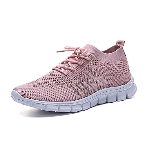 Straßenlaufschuhe,Zapatos Deportivos de Gran tamaño para Mujer, Zapatos de Senderismo al Aire Libre Salvajes-Pink_37,Calzado Deportivo para Hombre y Mujer