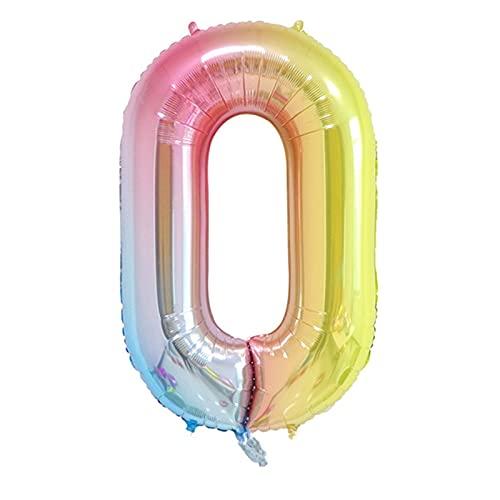 YIANGNB Globo 32 Pulgadas Diapositivas cumpleaños Globos Aire Helio número Globo Figuras Feliz cumpleaños Fiesta Decoraciones niño Globos cumpleaños bálbol Decorar (Farbe : Gradual Rainbow)