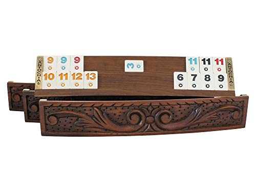 Antochia Crafts Hand Carved Oval Rummy Cube Tile Holders with Tiles and Case  Complete Set