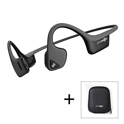 AfterShokz Trekz Air - Écouteurs sans Fil à Conduction Osseuse (Oreilles Libres/Open Ear) Casque Bluetooth pour Sport Course Vélo avec 2 Étuis de Transport, Gris Ardoise