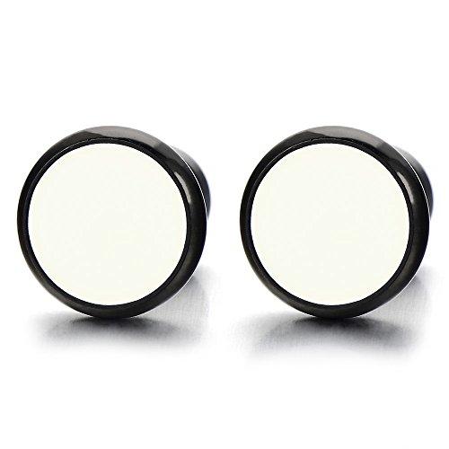 12MM Círculo Negro Blanco, Enchufe falso Fake Plug, Pendientes de Hombre Mujer, Aretes, Acero, 2 Piezas