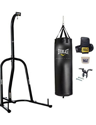 Everlast Single-Station Heavy Bag Stand in Black Finish with 70 lbs. Heavy Bag Kit BUNDLE SET!