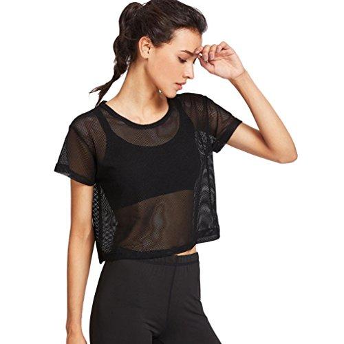 MORCHAN Mesdames Noir Mesh Cover Up Sports Meshed Haut Danse Fitness Tops (XL, Noir)