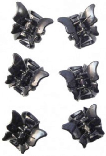Useful pack of 6 black butterfly mini hair clamps/claw clips. 2cm long. Ideal for lots of hair styles.