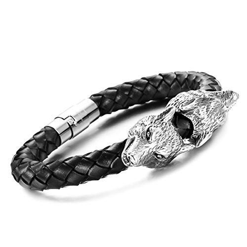Autiga® Echt-Leder-Armband Wolf-Armband aus Rindsleder geflochten schwarz Edelstahl Herren Damen schwarz