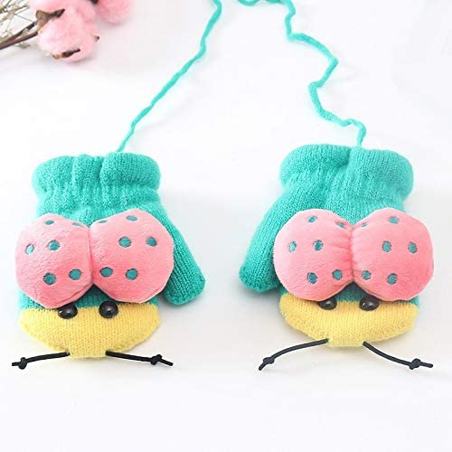 3-6 Year Old Children's Winter Acrylic Plus Plush Thick Knit Warm Halter Mittens Boy/Girl Cute Cartoon Gloves (Color : Green, Gloves Size : 12X8cm)