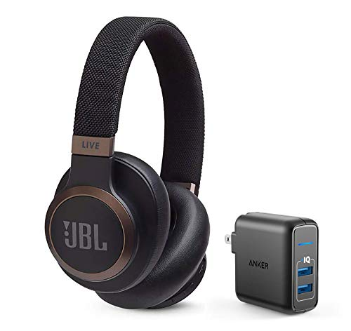 JBL Live 650 BT NC Over-Ear Noise Canceling Wireless Bluetooth Headphone Bundle with Anker PowerPort Elite 2 Ports USB Wall Charger - Black
