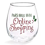 Festive Stemless Wine Glass (Pairs Well with Online Shopping)