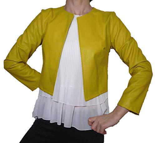 Coprispalle Elegante Cerimonia Eco Pelle Finta Pelle Donna Ragazza Colorati Casual Semplice (S 40 IT Donna, Giallo)